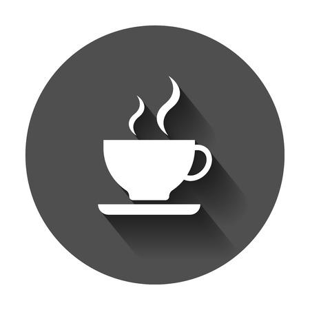 Coffee cup icon. Vector illustration with long shadow. Business concept coffee mug pictogram. Illusztráció