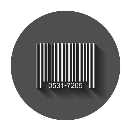 Barcode product distribution icon. Vector illustration with long shadow. Business concept barcode pictogram.
