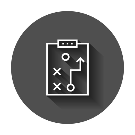 Tactical plan document icon. Vector illustration with long shadow. Business strategy concept plan pictogram.