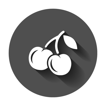 Cherry berry vector icon. Cherries illustration with long shadow. Sweet cherry healthy food. Иллюстрация