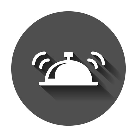 Bell vector icon in flat style. Alarm bell illustration with long shadow. Handbell sign concept. Banque d'images - 101970526