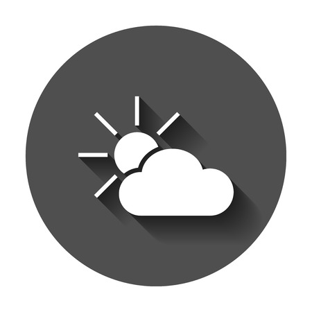 Weather forecast icon in flat style. Sun with clouds illustration with long shadow. Forecast sign concept.