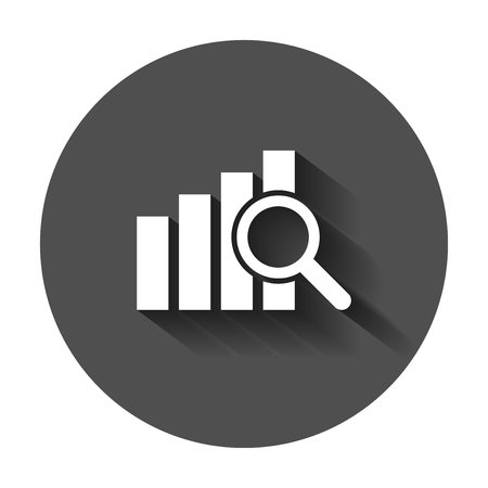 Financial forecast icon in flat style. Business analysis illustration with long shadow. Analytics financial forecast sign concept.