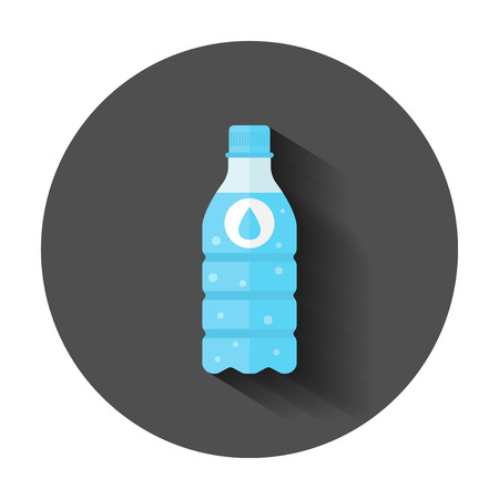 Water bottle icon in flat style. Bottle illustration with long shadow. Water plastic container concept. 向量圖像