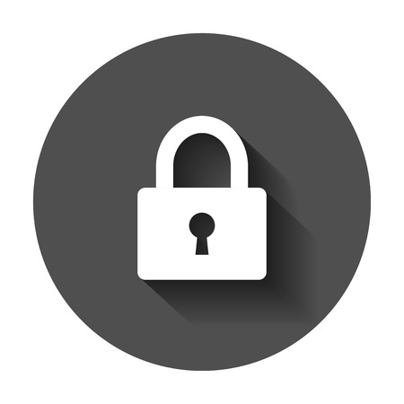 Padlock icon in flat style. Lock, unlock security illustration with long shadow. Padlock business concept. Stock fotó - 101996941