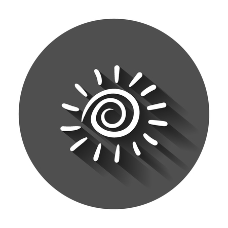 Hand drawn sun vector icon. Sun sketch doodle illustration with long shadow. Handdrawn sunshine concept. Vectores