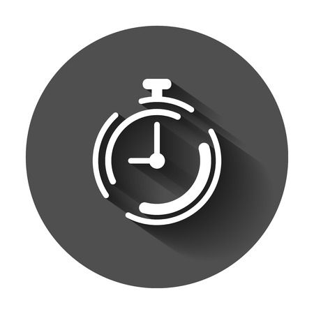 Clock timer icon in flat style. Time alarm illustration with long shadow. Stopwatch clock business concept. 向量圖像