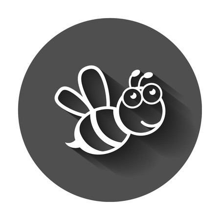 Cartoon bee icon in flat style. Wasp insect illustration on with long shadow. Bee business concept. Ilustração