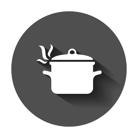 Cooking pan icon in flat style. Kitchen pot illustration with long shadow. Saucepan equipment business concept. Иллюстрация