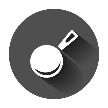 Frying pan icon in flat style. Cooking pan illustration with long shadow. Skillet kitchen equipment business concept. Illustration