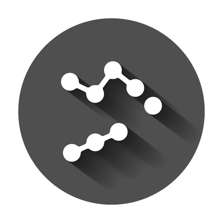 Dna vector icon. Medecine molecule flat illustration with long shadow. Simple business concept pictogram. Illustration