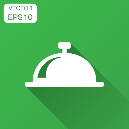 Bell vector icon in flat style. Alarm bell illustration with long shadow. Handbell sign concept.