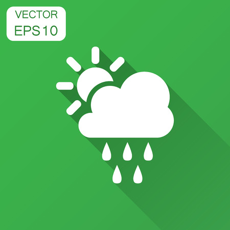 Weather forecast icon in flat style. Sun with clouds illustration with long shadow. Forecast sign concept. Stock Vector - 102961463