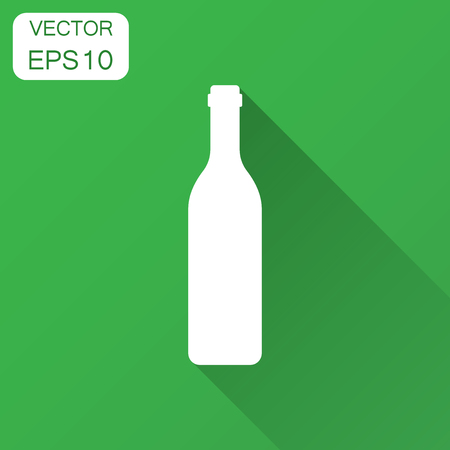 Wine bottle icon in flat style. Alcohol bottle illustration with long shadow. Beer, vodka, wine concept.