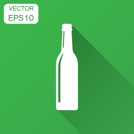 Beer bottle icon in flat style. Alcohol bottle illustration with long shadow. Beer, vodka, wine concept.