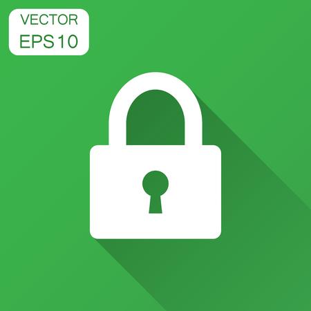 Padlock icon in flat style. Lock, unlock security illustration with long shadow. Padlock business concept. Illusztráció