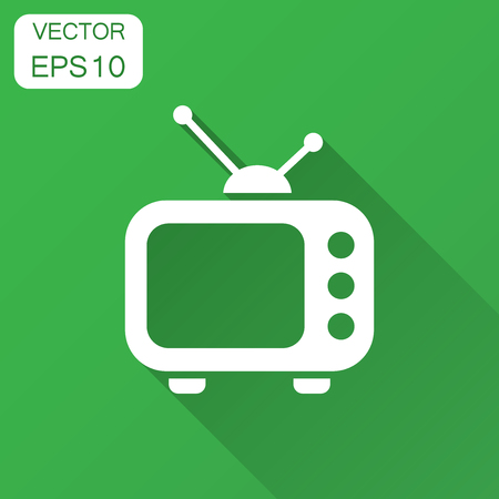 Television monitor in flat style. Tv screen illustration with long shadow. Tv show concept.