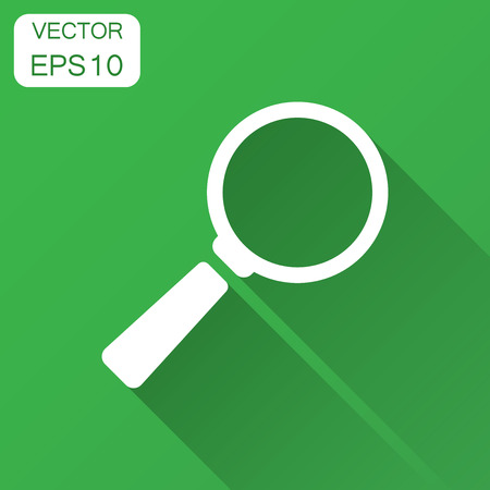 Magnifying glass vector icon in flat style. Search magnifier illustration with long shadow. Find search business concept. Stock Illustratie