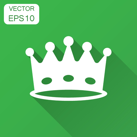 Crown diadem vector icon in flat style. Royalty crown illustration with long shadow. King, princess royalty concept.