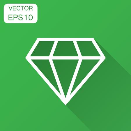 Diamond jewel gem vector icon in flat style. Diamond gemstone illustration with long shadow. Jewelry brilliant concept. Ilustrace