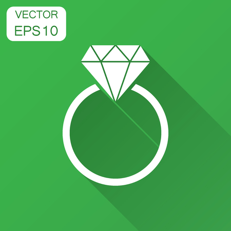 Engagement ring with diamond vector icon in flat style. Wedding jewelery ring illustration with long shadow. Romance relationship concept. 版權商用圖片 - 102954973