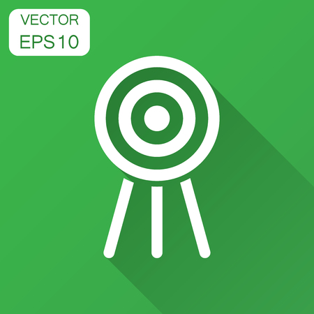Target aim vector icon in flat style. Darts game illustration with long shadow. Dartboard sport target concept.