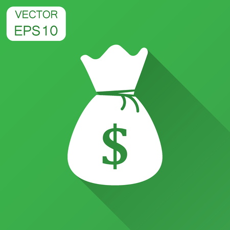 Money bag vector icon in flat style. Moneybag with dollar sign illustration with long shadow. Money cash sack concept. Ilustração