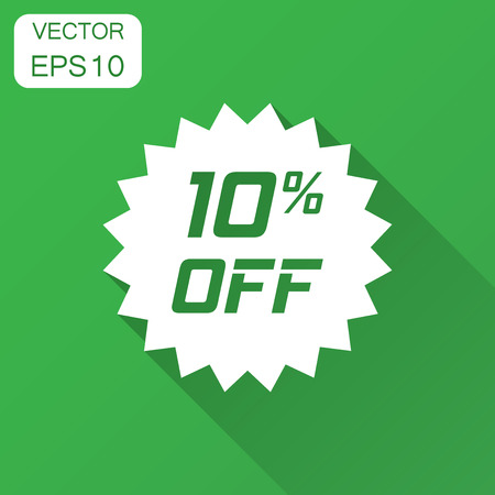 Discount sticker vector icon in flat style. Sale tag sign illustration with long shadow. Promotion 10 percent discount concept.