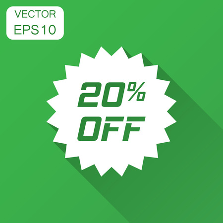 Discount sticker vector icon in flat style. Sale tag sign illustration with long shadow. Promotion 20 percent discount concept. Illustration