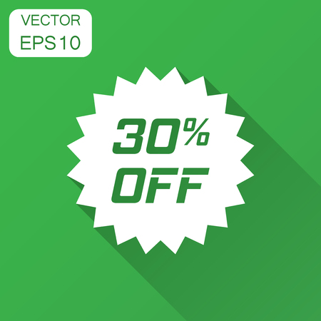 Discount sticker vector icon in flat style. Sale tag sign illustration with long shadow. Promotion 30 percent discount concept.