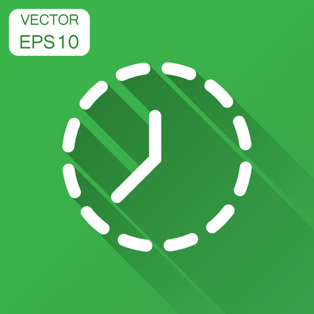 Clock time icon in flat style. Vector illustration with long shadow. Business concept clock timer pictogram.