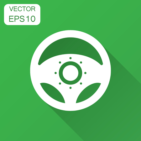 Steering wheel icon. Vector illustration with long shadow. Business concept car wheel pictogram.