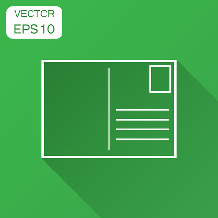 Postcard envelope icon. Vector illustration with long shadow. Business concept postal postcard wheel pictogram.