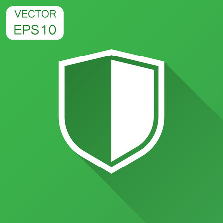 Shield protect icon. Vector illustration with long shadow. Business concept shield defence pictogram.