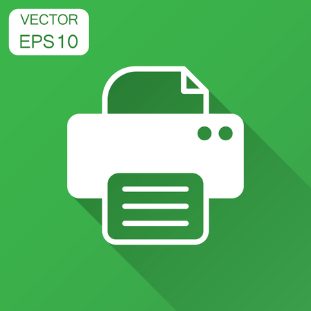 Printer icon. Vector illustration with long shadow. Business concept document printing pictogram. Standard-Bild - 102955889