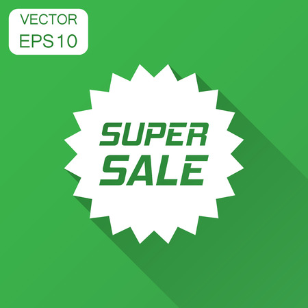 Discount sticker vector icon in flat style. Sale tag sign illustration with long shadow. Promotion super sale discount concept.