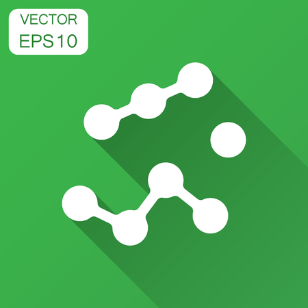 Dna vector icon. Medecine molecule flat illustration with long shadow. Simple business concept pictogram.