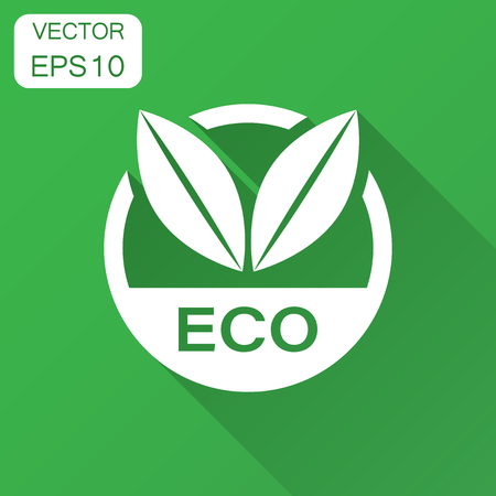 Eco label badge vector icon in flat style. Organic product stamp illustration with long shadow. Eco natural food concept. Ilustração