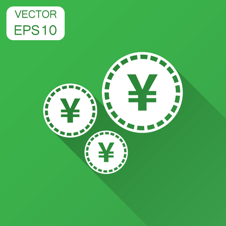 Yen, yuan money currency vector icon in flat style. Yen coin symbol illustration with long shadow. Asia money business concept.