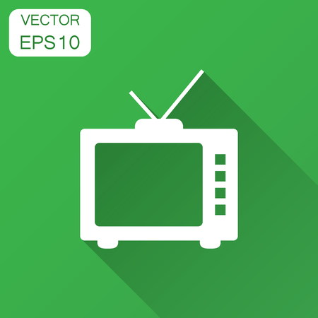 Retro tv screen vector icon in flat style. Old television illustration with long shadow. Tv display business concept. Ilustração