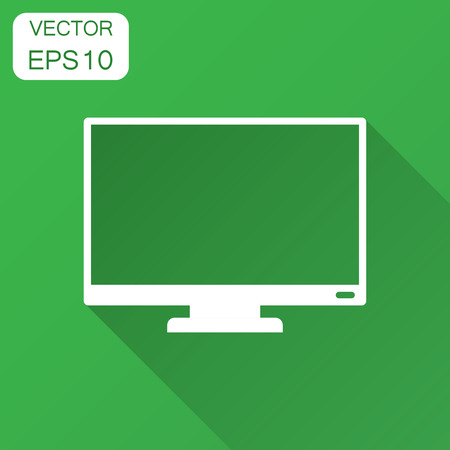 Computer monitor vector icon in flat style. Television illustration with long shadow. Tv display business concept.