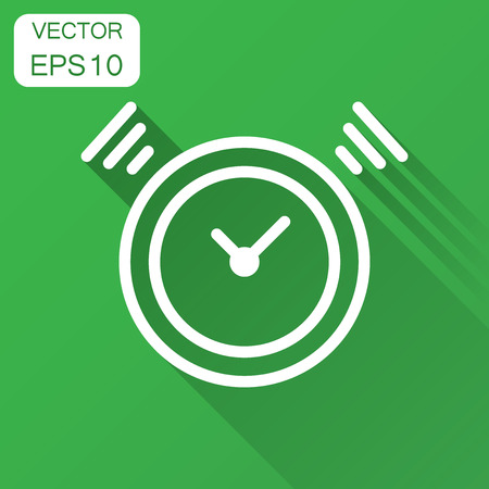 Clock timer icon in flat style. Time alarm illustration with long shadow. Stopwatch clock business concept.  イラスト・ベクター素材