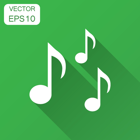 Music note icon in flat style. Sound media illustration with long shadow. Audio note business concept. Иллюстрация