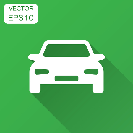 Car vector icon in flat style. Automobile vehicle illustration with long shadow. Car sedan concept.