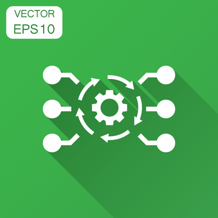 Algorithm api software vector icon in flat style. Business gear with arrow illustration with long shadow. Algorithm concept.