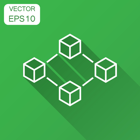 Blockchain technology vector icon in flat style. Cryptography cube block illustration with long shadow. Blockchain algorithm concept.