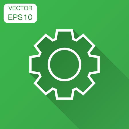 Gear vector icon in flat style. Cog wheel illustration with long shadow. Gearwheel cogwheel business concept. Foto de archivo - 102978388