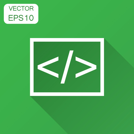 Open source business vector icon in flat style. Api programming illustration with long shadow. Programmer technology concept.