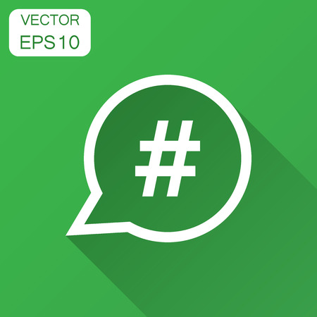 Hashtag vector icon in flat style. Social media marketing illustration with long shadow. Hashtag network concept. Stock fotó - 102959803