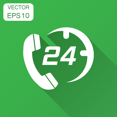 Technical support 247 vector icon in flat style. Phone clock help illustration with long shadow. Computer service support concept. Ilustração